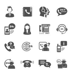 Support contact call center icons set vector