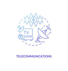 Telecommunications blue gradient concept icon vector