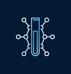 test-tube with chemical formula blue outline vector image