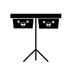 Timpani music instrument kawaii character vector