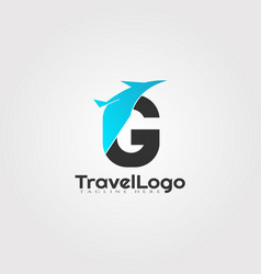 Travel agent logo design with initials g letter vector