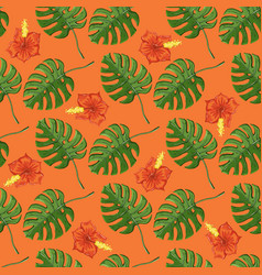 tropical pattern with monstera plants and flowers vector image