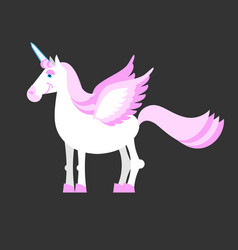 unicorn isolated mythical horse with horns and vector image
