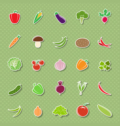 vegetable silhouettes stickers vector image