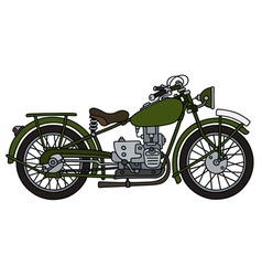 Vintage green motorcycle vector image