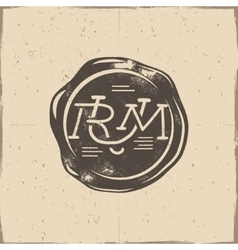 Vintage handcrafted wax seal template vector
