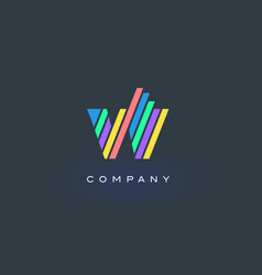 w letter logo with colorful lines design rainbow vector image