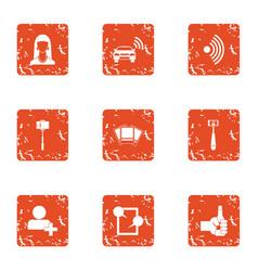 Wifi photo icons set grunge style vector