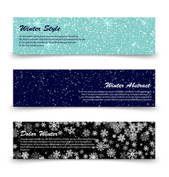 winter banners template set with snow shine vector image