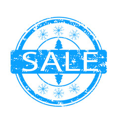 winter sale rubber stamp with snowflake and tree vector image