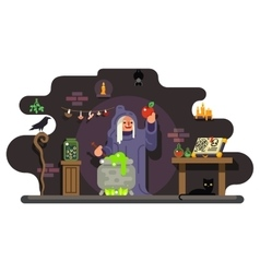 witch cook magical sweet apple laboratory icons vector image