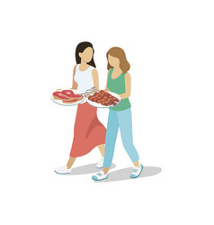 Women walking with barbecued meat vector