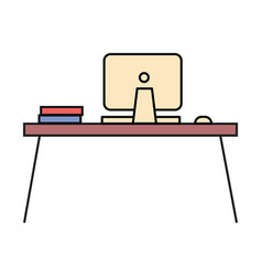 workplace with laptop for work at home and office vector image