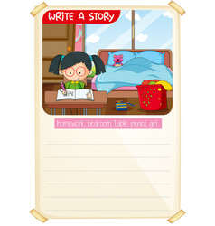 Write a story template vector