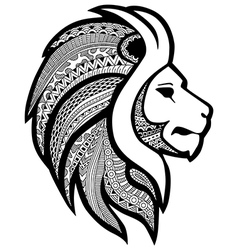 Zentangle stylized tattoo profile lion head vector