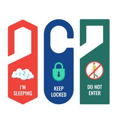 Door hangers with informative signs and pictures vector