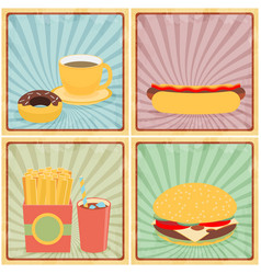 fast junk food icons flat set on retro background vector image vector image