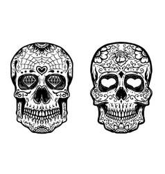 set of hand drawn sugar skulls on white background vector image