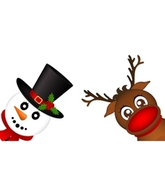 Snowman and Reindeer peeking sideways on a white vector image vector image