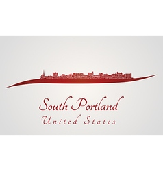 South Portland skyline in red vector image vector image