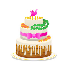 wedding celebratory cake with flowers bow for the vector image