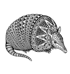 a totem animal - armadillo - in graphic b vector image vector image