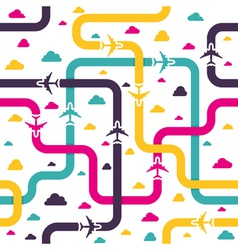 Seamless pattern with colorful airplanes vector image vector image