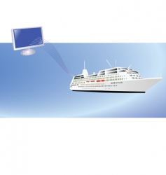 ship and computer vector image vector image