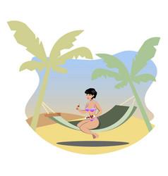 the girl sunbathes on the beach vector image