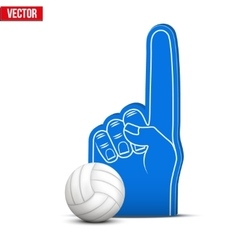 Volleyball sports fan foam fingers and ball vector