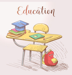 hand drawn education concept with desk and books vector image vector image