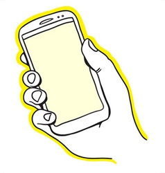 Hand holding smart phone vector image vector image