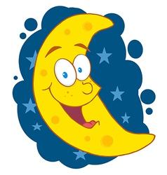 Moon Mascot Cartoon Character In The Sky vector image