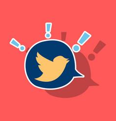 Sticker tweet bird logotwitter icon buttonflat vector