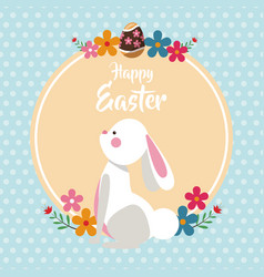 happy easter bunny with flowers dots background vector image