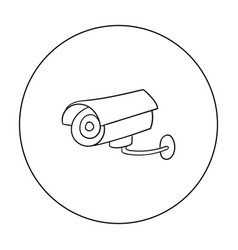Security camera icon in outline style isolated on vector