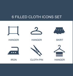 6 cloth icons vector