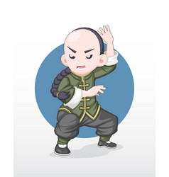 adult kung fu fighter in fighting stance vector image
