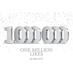 anniversary or event 1000000 silver 3d numbers vector image