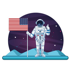 Astronaut in galaxy cartoon vector
