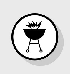barbecue with fire sign flat black icon vector image