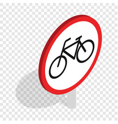 Bicycle sign isometric icon vector
