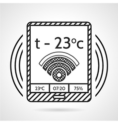 Black line icon for heating control device vector