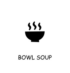 bowl soup flat icon vector image