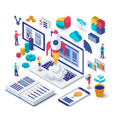 Business startup isometric concept vector
