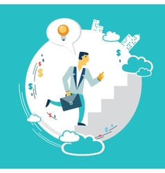 Businessman runs up the career ladder with ideas vector image