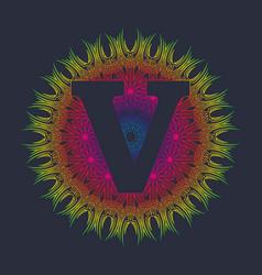 Capital letter v alphabet as a monogram vector