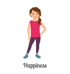 Cartoon little happiness girl vector