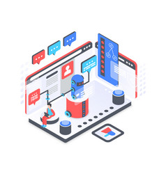 Chat bot service isometric vector