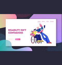 Cheerful handicapped invalid man in wheelchair vector